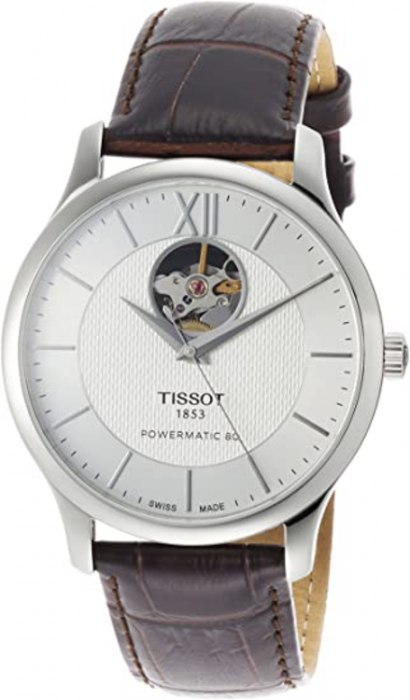 T0639071603800 Tissot Tradition Gents 40mm Stainless Steel Automatic Watch. Silver dial. On Strap With Folding Buckle.