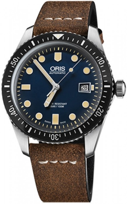 Oris Divers Sixty-Five Blue Dial on Leather Strap