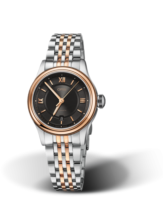 561 7718 4373 Oris Classic Date grey dial date rose gold index with tutone metal band