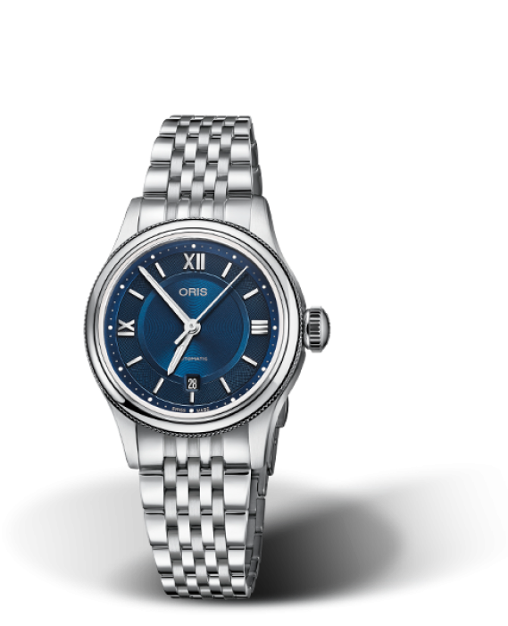 561 7718 4075 Oris CLassic Date blue dial date with steel metal band