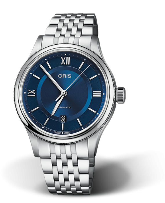 733 7719 4975 Oris Classic Date Blue dial with steel metal band