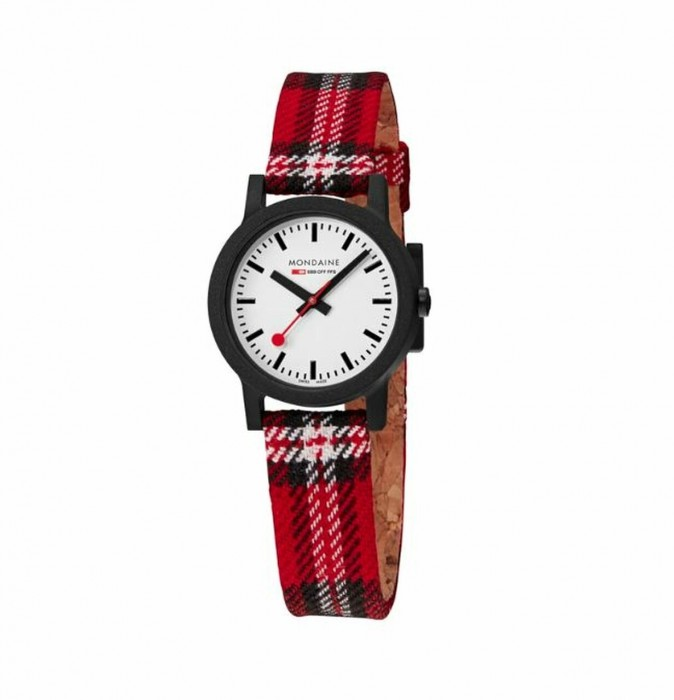 MS1.32111.LC Mondaine Ladies Essence Tartan with Red/Blue Textile strap