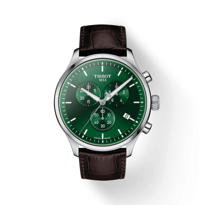 T116.617.16.091.00 Chronograph green dial on leather strap Qtz