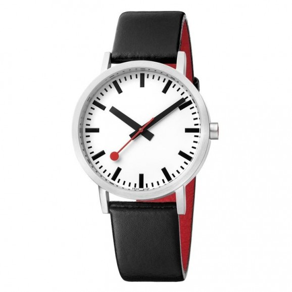 Mondaine Classic 40mm Stainless Steel Brushed White Dial Black leather strap Red lining