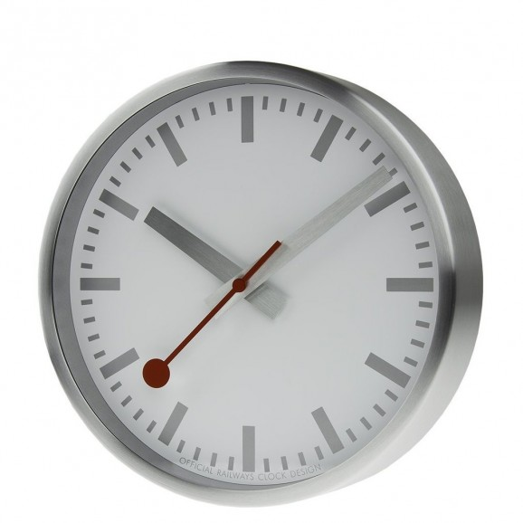 A990.CLOCK.17SBV  MONDAINE brushed silver 25mm clock
