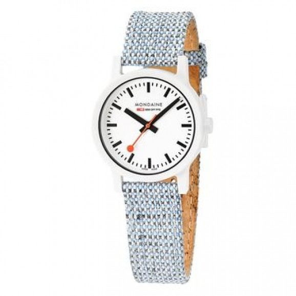 MS1.32110.LD MONDAINE Novelties Essence  white dial on fresh powder blue textile.