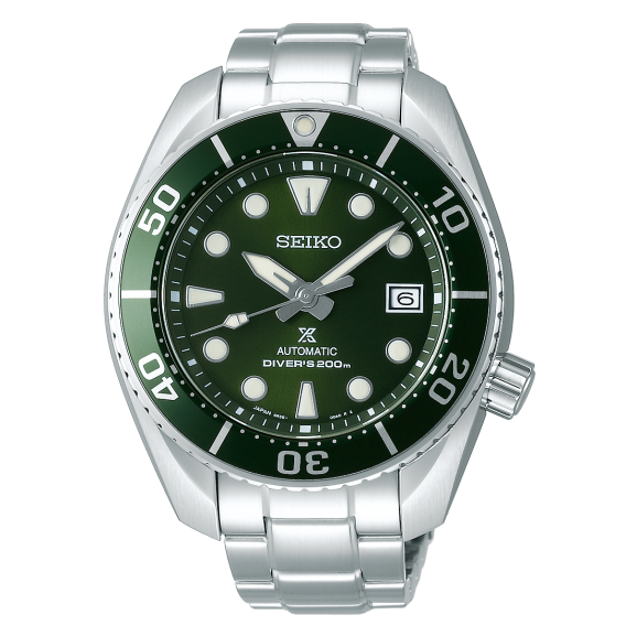 "SPB103J Seiko Prospex ""Sumo"" Automatic Diver 200m Calibre 6R35 Green Dial and Bezel on Stainless Steel Bracelet"