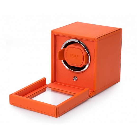 Wolf Single Cub Watch Winder 461139 with Cover in Orange